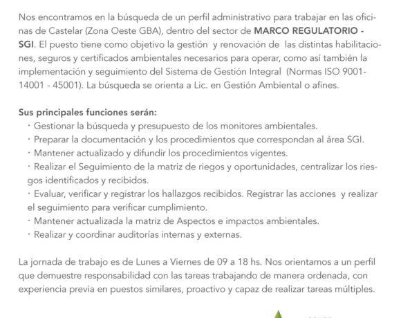 Búsqueda laboral para Marco Regulatorio-SGI (Castelar)